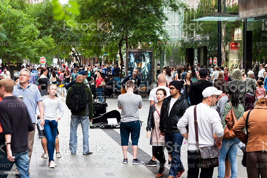 Saturday afternoon on Pitt Street with crowd of people stock photo