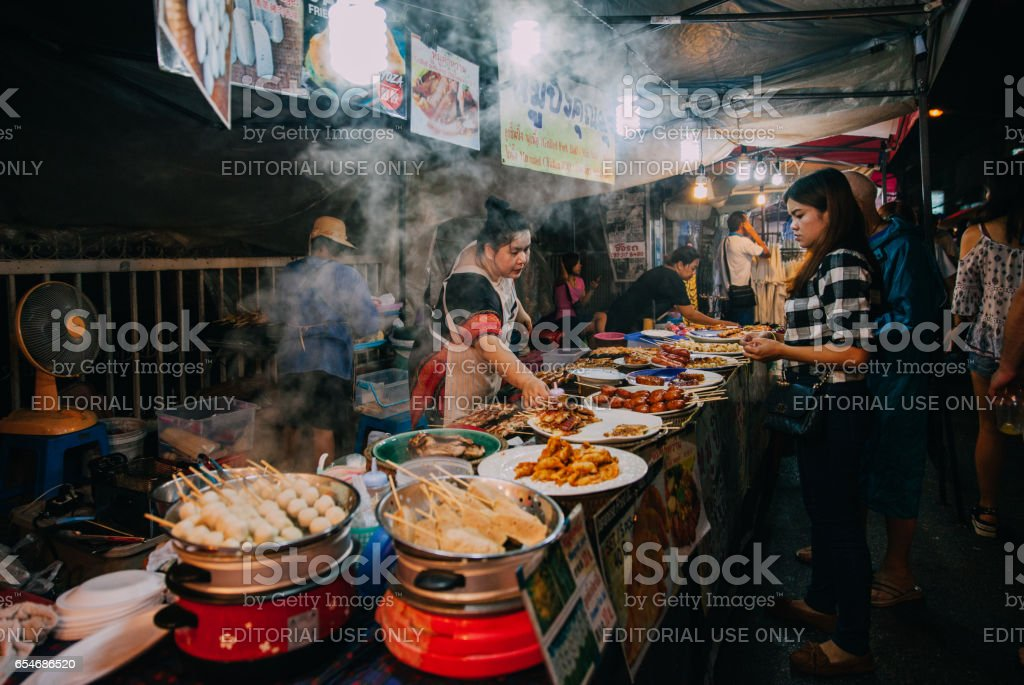 Saturday night market in Chiang Mai, Thailand stock photo