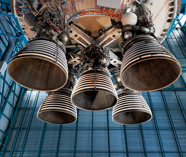 Saturn 5 rocket engine and exhaust pipes stock photo