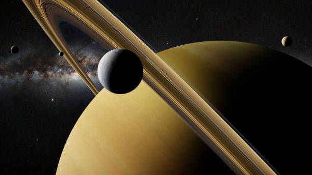 saturn moon enceladus in front of planet saturn, rings and other moons - esplorazione spaziale foto e immagini stock