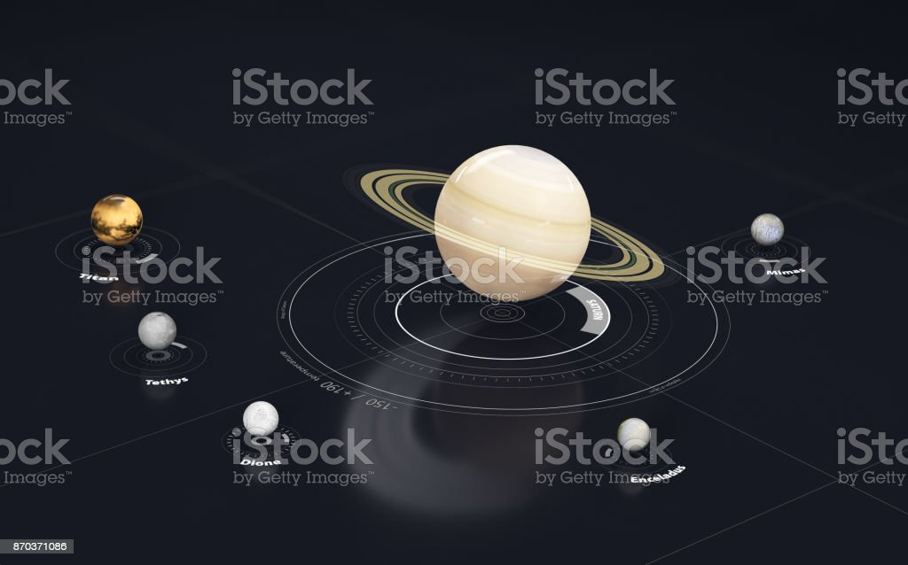 Saturn - planet and moon. This image elements furnished by NASA, 3d Illustration. stock photo