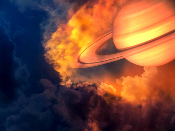 saturn red hot and space on sunset sky stock photo
