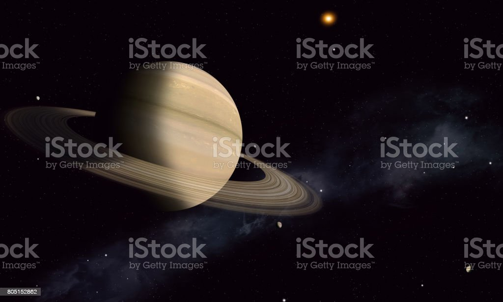 Saturn with Moons stock photo