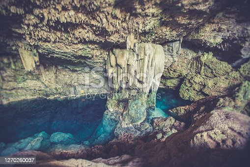 amazing crystal clear water cave near varadero in cuba.