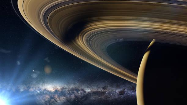 saturnusmaan enceladus werpt een schaduw op de planeet de ringen van saturnus - ruimtevaart voertuig stockfoto's en -beelden