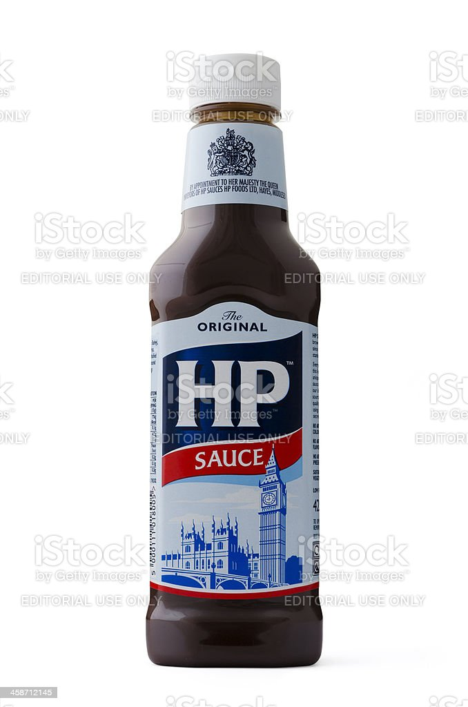 HP Sauce 425g plastic bottle isolated stock photo