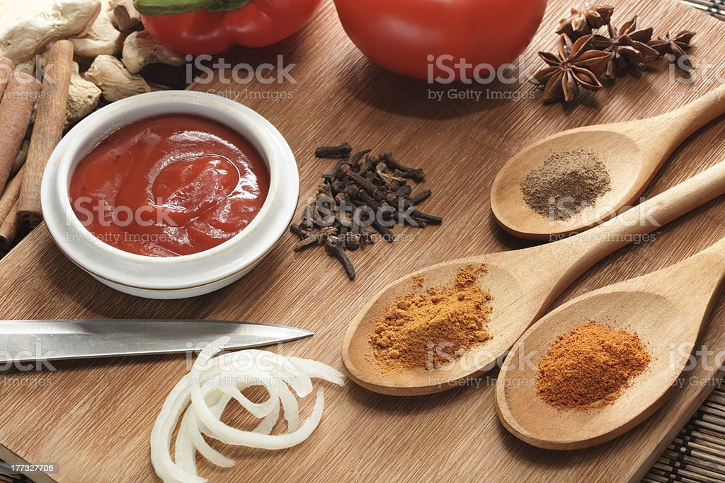 sauce ingredient on wood table royalty-free stock photo