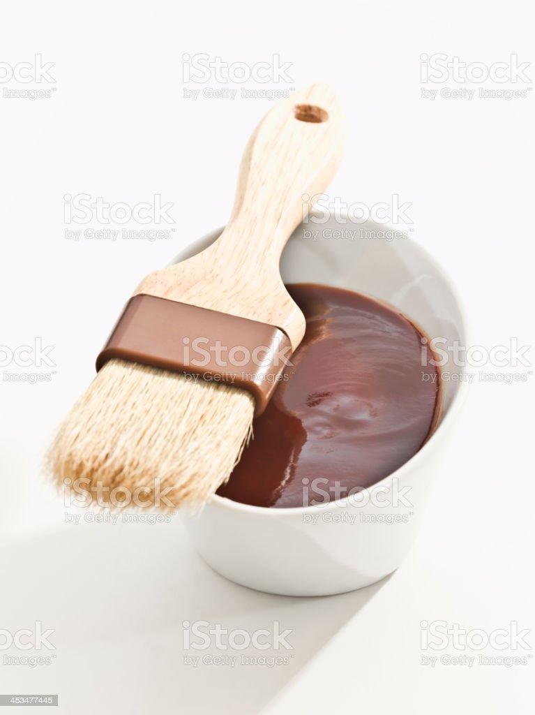 BBQ sauce with brush stock photo