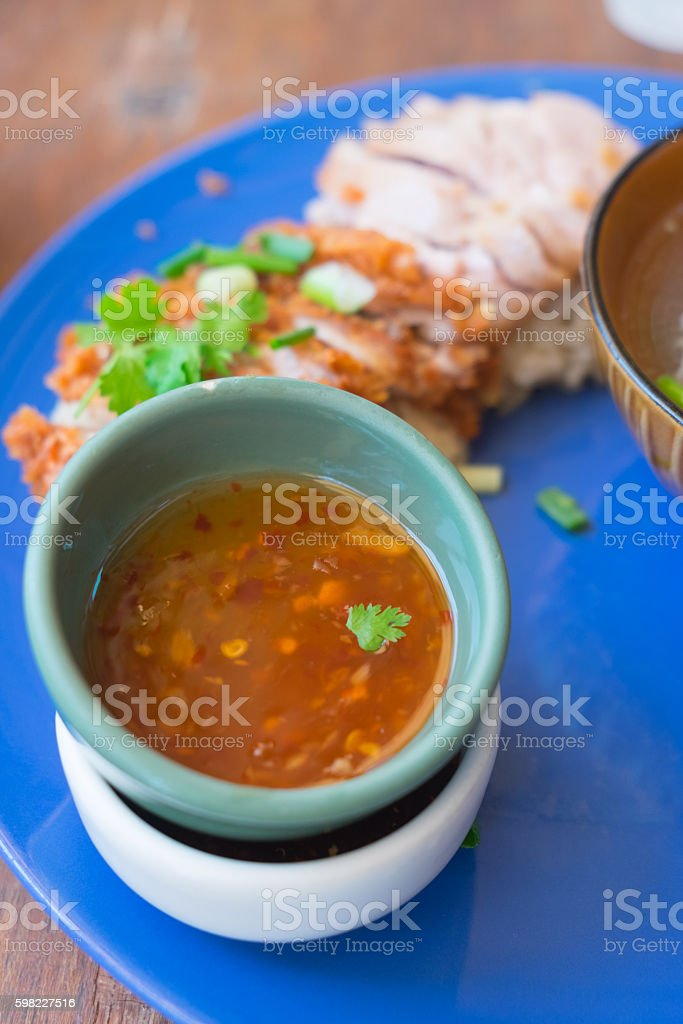 sauce with Hainanese chicken rice foto royalty-free