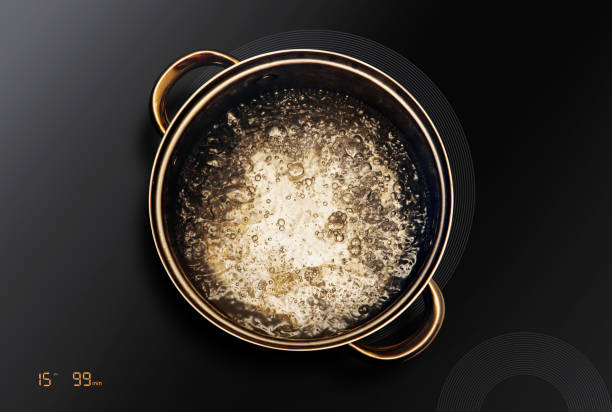 saucepan on black induction cooktop