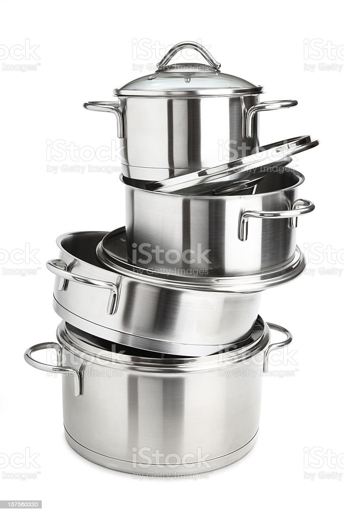 saucepans stock photo