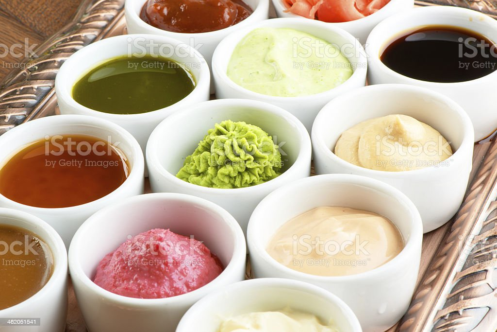 sauces collection stock photo