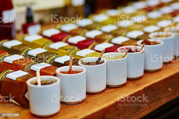 Sauces Mustards And Tapenades On Market Stock Photo - Download Image Now