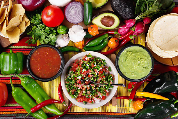 salsas - mexican food stock photos and pictures