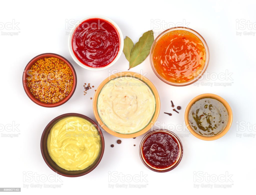 sauces set on a white background stock photo