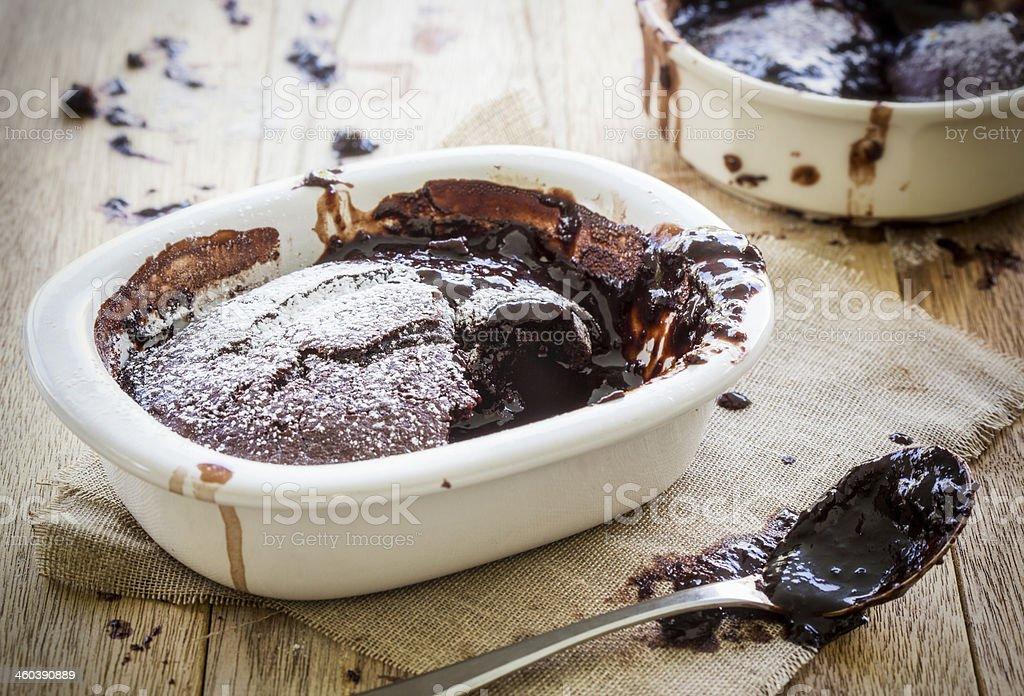 Saucy chocolate pudding stock photo