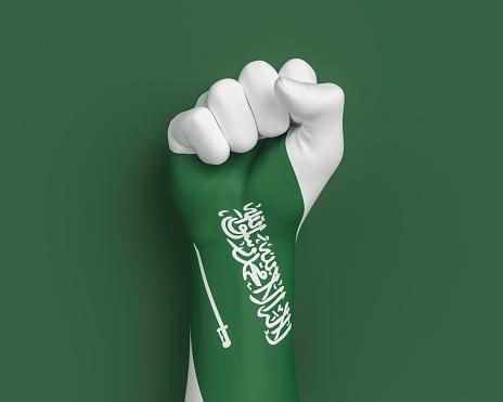 Saudi Arabia 23 September Independence day celebration background, national Saudi flag painted on hand fist. 3d illustration