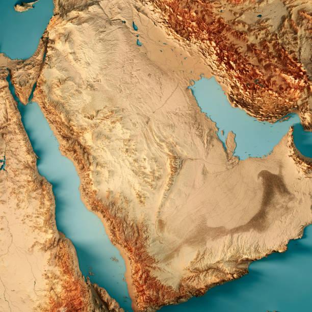 Saudi Arabia 3D Render Topographic Map Color stock photo
