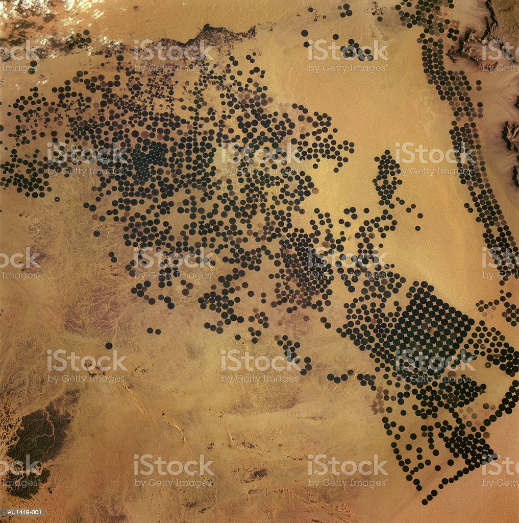 Saudi Arabia, center pivot farms, satellite view (Enhancement) royalty-free stock photo