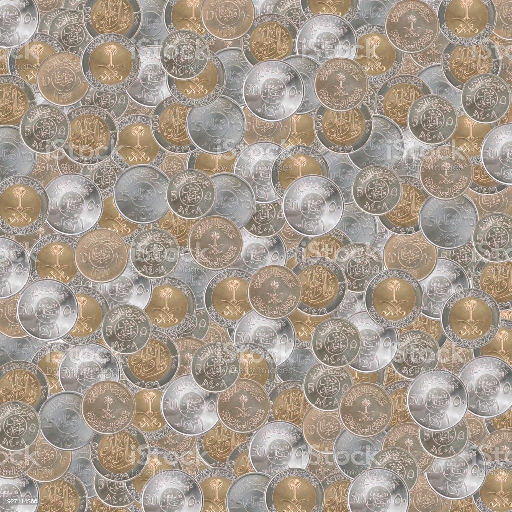 Saudi Arabien Münzen Textur Stock Fotografie Und Mehr Bilder Von
