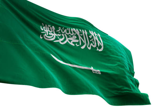 사우디아라비아 국기 클로즈업 흔들며 고립 된 흰색 배경 - saudi national day 뉴스 사진 이미지