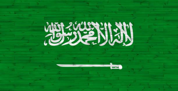 나무 질감에 사우디 아라비아 국기 - saudi national day 뉴스 사진 이미지
