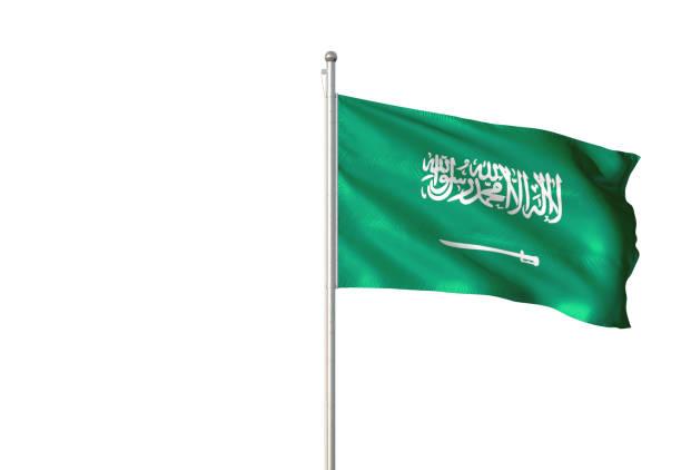 사우디 아라비아 깃발 흔들며에 고립 된 흰색 배경 - saudi national day 뉴스 사진 이미지