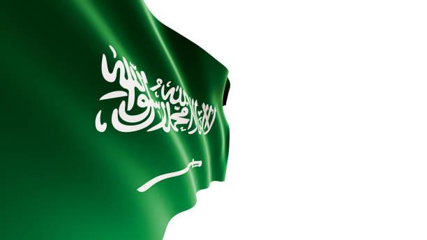 흰색 배경에 흔들리는 사우디 아라비아 국기 - saudi national day 뉴스 사진 이미지