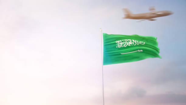 saudi arabia flag with airplane - saudi national day zdjęcia i obrazy z banku zdjęć