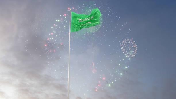 saudi arabia  flag with morning sky and fireworks - saudi national day zdjęcia i obrazy z banku zdjęć