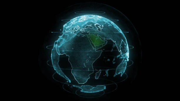 saudi arabia map hologram effect, ksa digital global map, riyadh zoom out - saudi arabia map stock photos and pictures