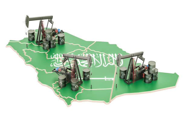 saudi arabia map with oil barrels and pumpjacks. oil production concept. 3d rendering - saudi arabia map stock photos and pictures