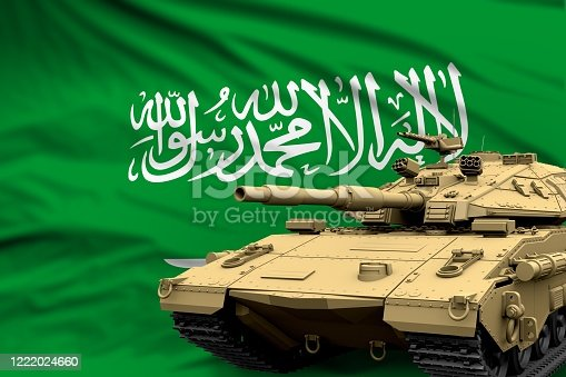 istock Saudi Arabia modern tank with not real design on the flag background - tank army forces concept, military 3D Illustration 1222024660