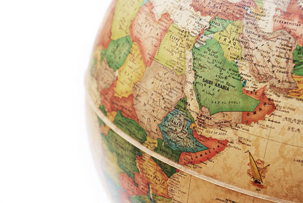 saudi arabia on globe - saudi arabia map stock photos and pictures