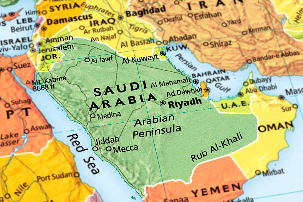 saudi arabia - saudi arabia map stock photos and pictures