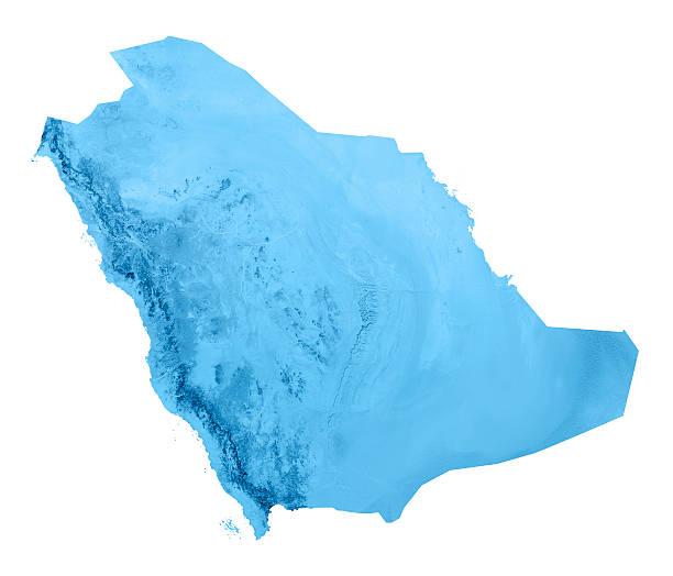 saudi arabia topographic map isolated - saudi arabia map stock photos and pictures