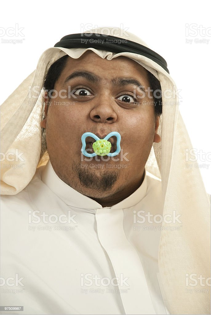 Saudi Arabian male with a pacifier royalty-free stock photo