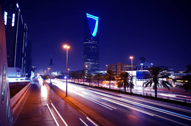 Saudi Arabia-Riyadh-King Fahad Road At Night-7 Saudi Arabia-Riyadh-King Fah0ad Road At Night Photography saudi arabia stock pictures, royalty-free photos & images