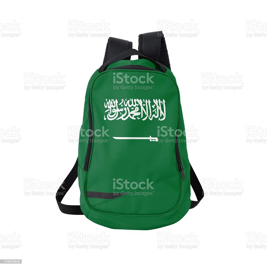 Saudi Arabic flag backpack isolated on white w/ path stock photo