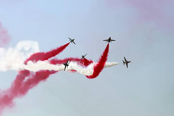 Saudi Hawks display team in Bahrain International Airshow stock photo