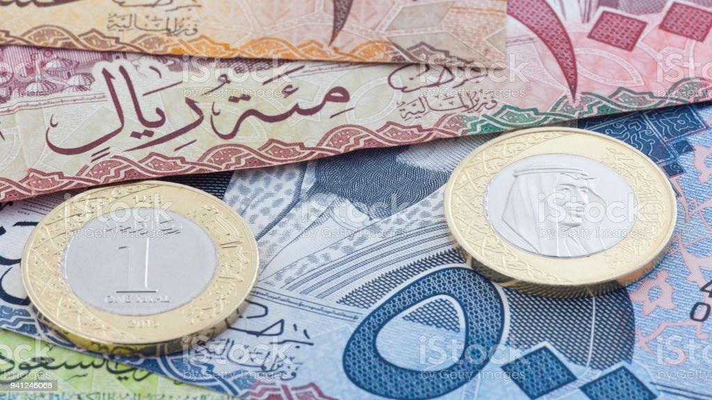 Saudi Riyal 500 100 10 Banknoten Und Neue Münze Zeigt König Salman