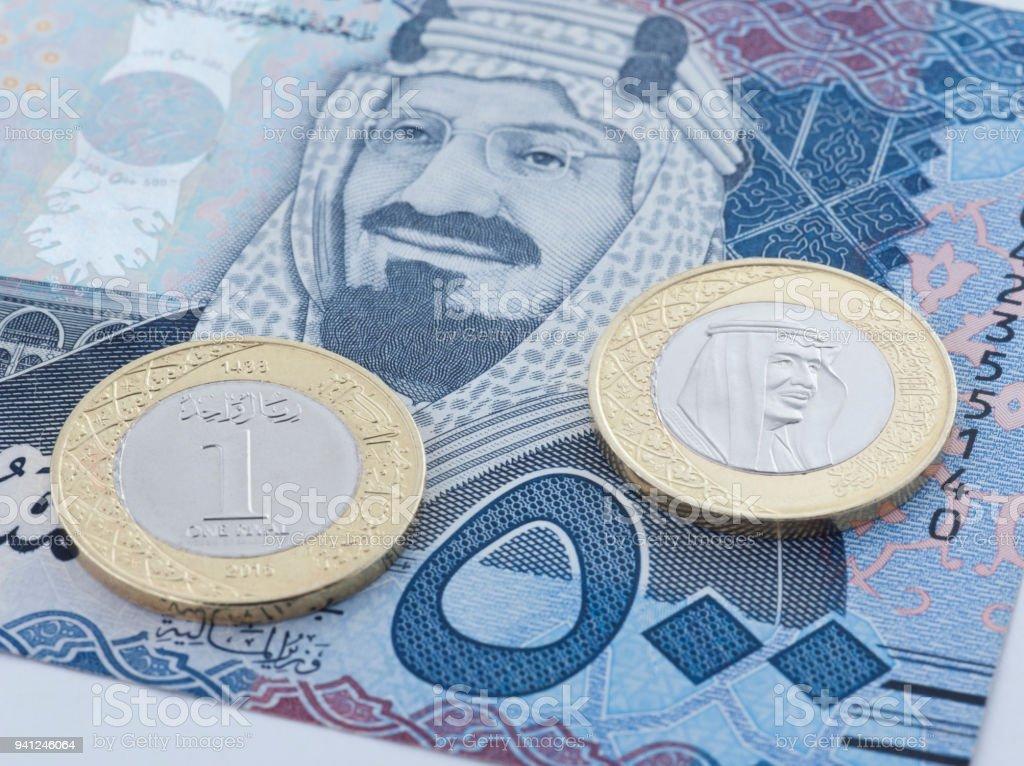 Saudi Riyal 500 Banknote Und Neue Münze Zeigt König Salman Von Saudi