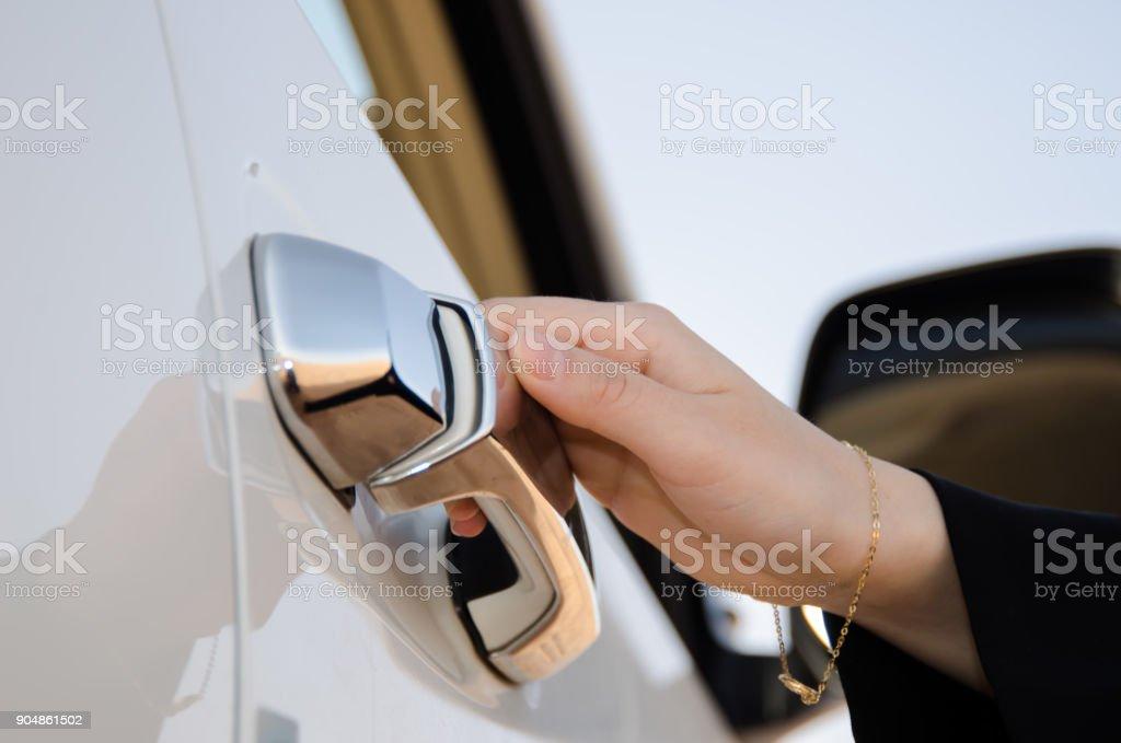 Saudi Woman Drives in Saudi Arabia, concept images. امرأة سعودية تقود سيارة في المملكة العربية السعودية stock photo