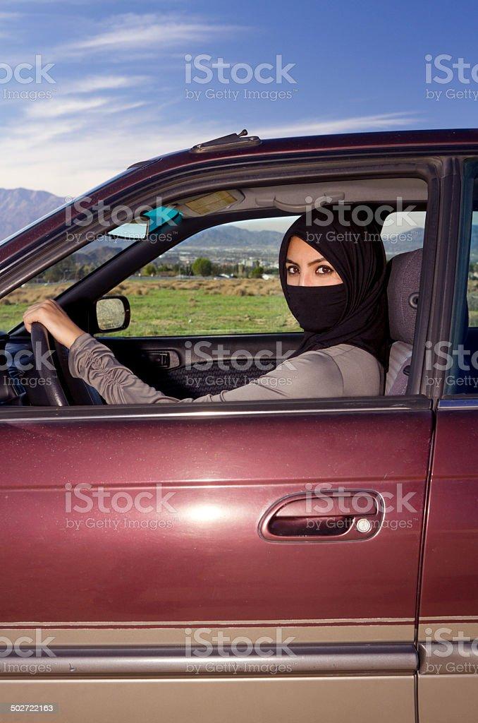 Saudi Woman in Car Vertical stock photo