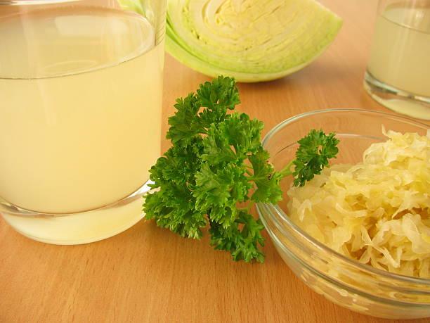 Sauerkraut juice stock photo