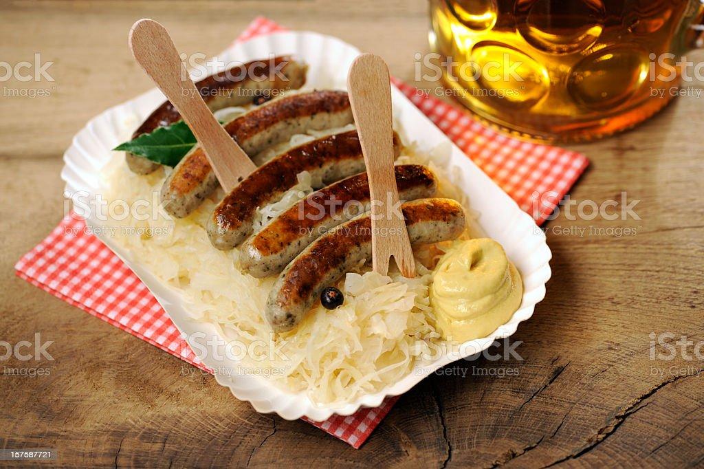 Sauerkraut + Nuernberger Bratwuerstchen stock photo
