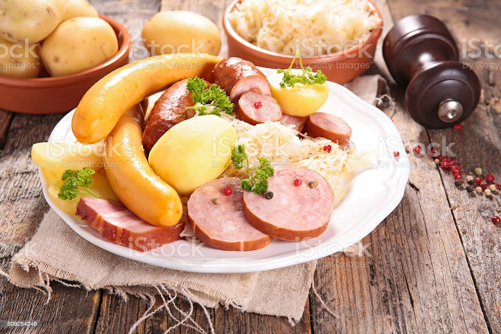 sauerkraut with sausage stock photo
