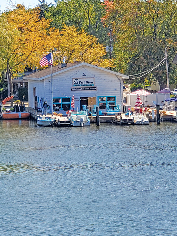 Town of Saugatuck on the Kalamazoo river  - The Old Boat House Retro Boat Rentals - Waterfront Bar and Food