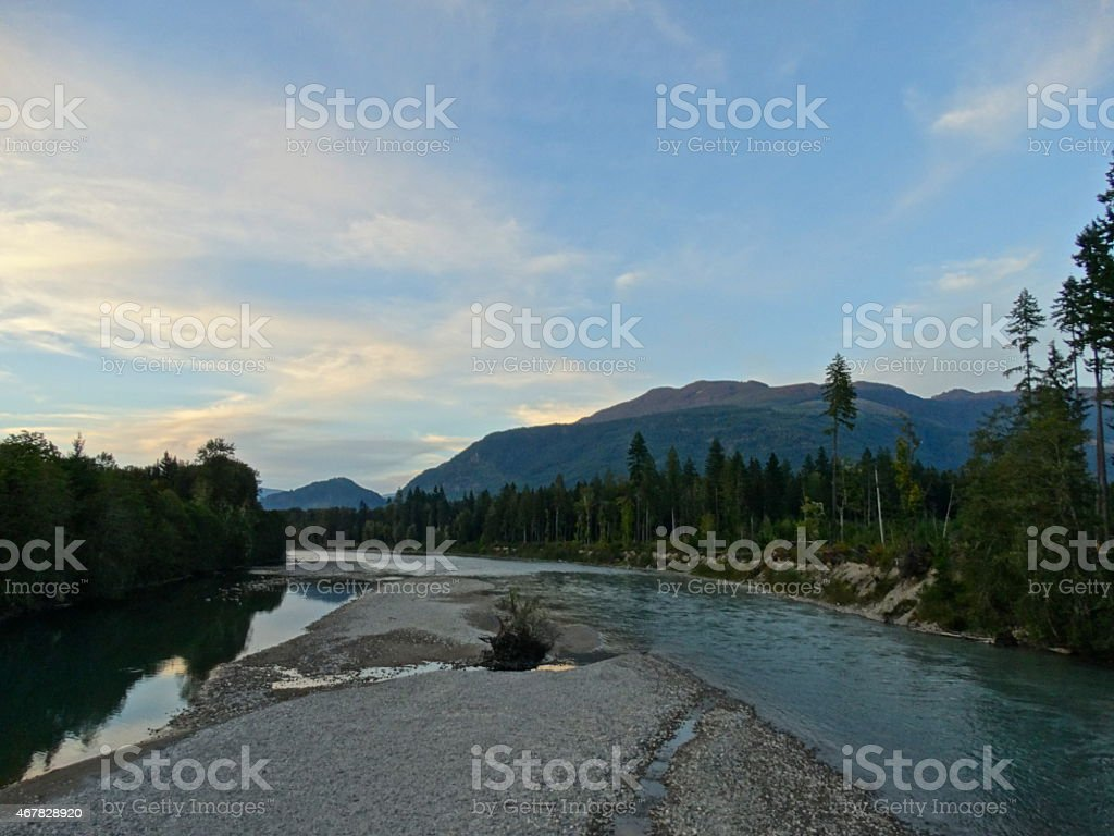 Sauk River Sunset stock photo
