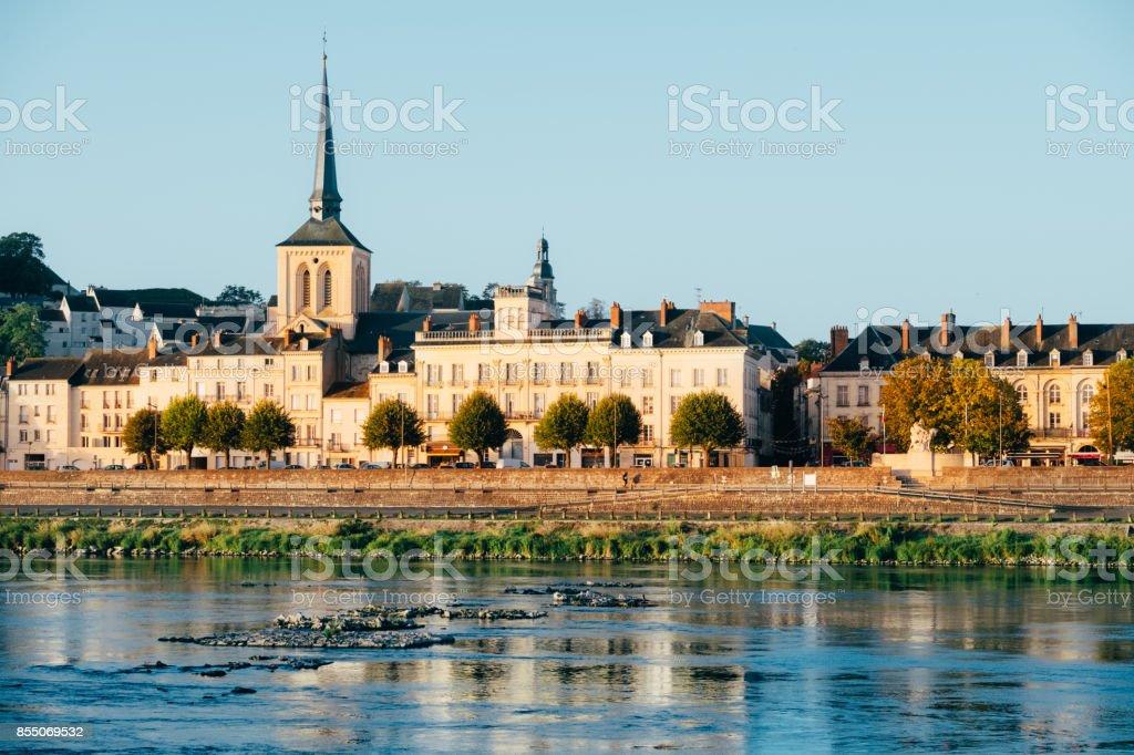 Saumur, across the Loire River, France stock photo